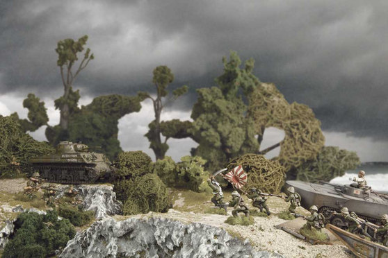 U.S. Marines receive an assault from the dedicated Japanese. Backed up by a Sherman, can the Marines repel this foe?
